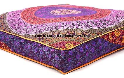 Exclusive Indian cuadrado Urban diseño de Mandala funda de almohada de suelo otomano Puf infantil cojín