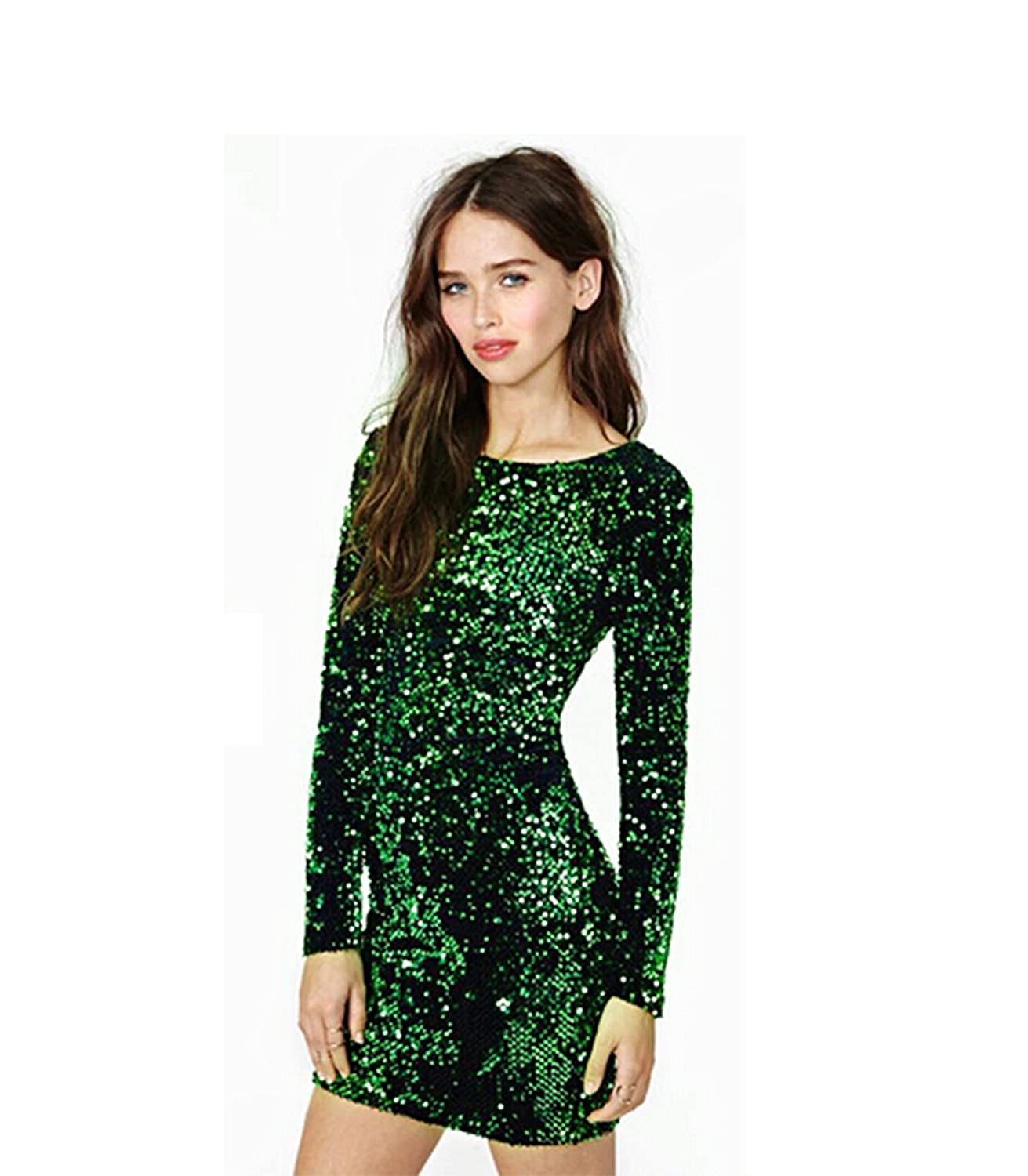 Amazon.com: Moxeay® Sequin Sexy Green Bodycon Backless Sequined ...