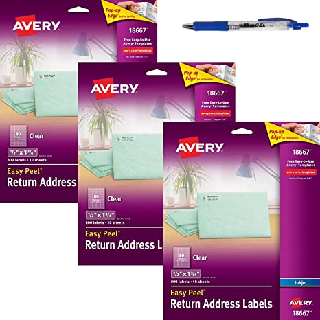 amazon com avery clear easy peel return address labels 1 2 x 1 3 4