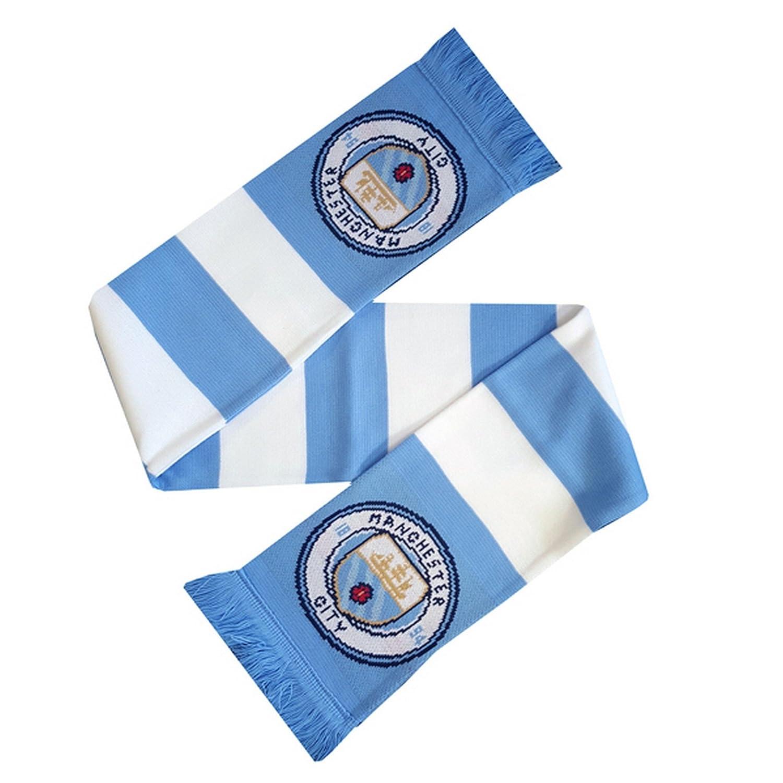 TALLA Talla única. Manchester City FC - Bufanda oficial con diseño a rayas y escudo del equipo