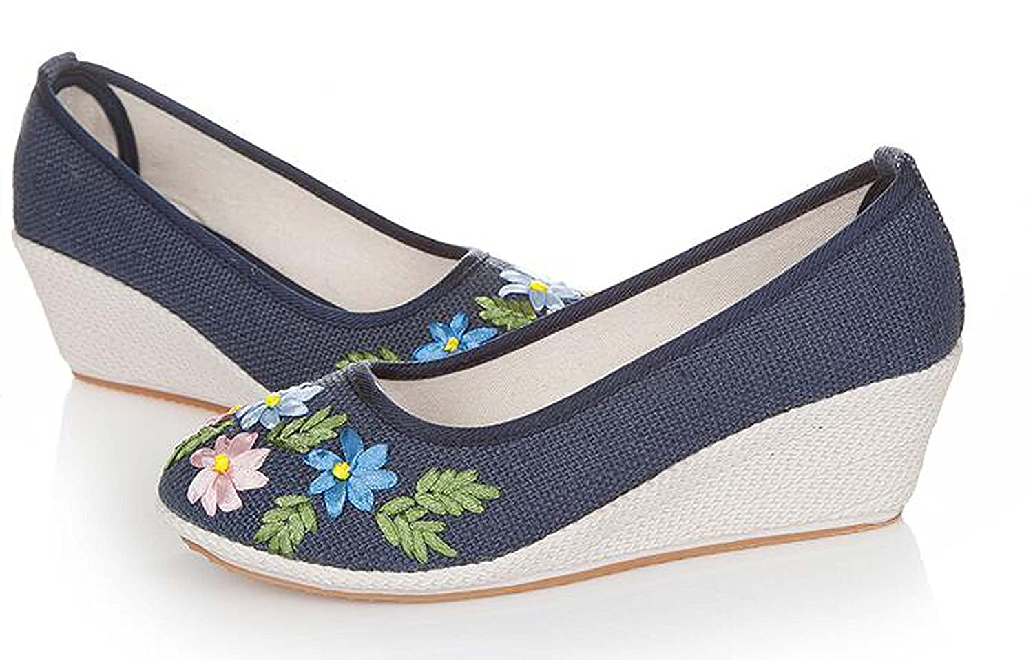 Beijing Traditional Embroidered Flower Strap Wedges Handwork Loafers