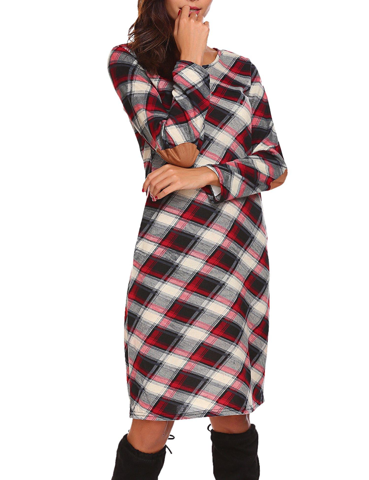 Halife Women's Basic Ethnic Plaid Loose Shirt Tunics Dress Colorfull,XL