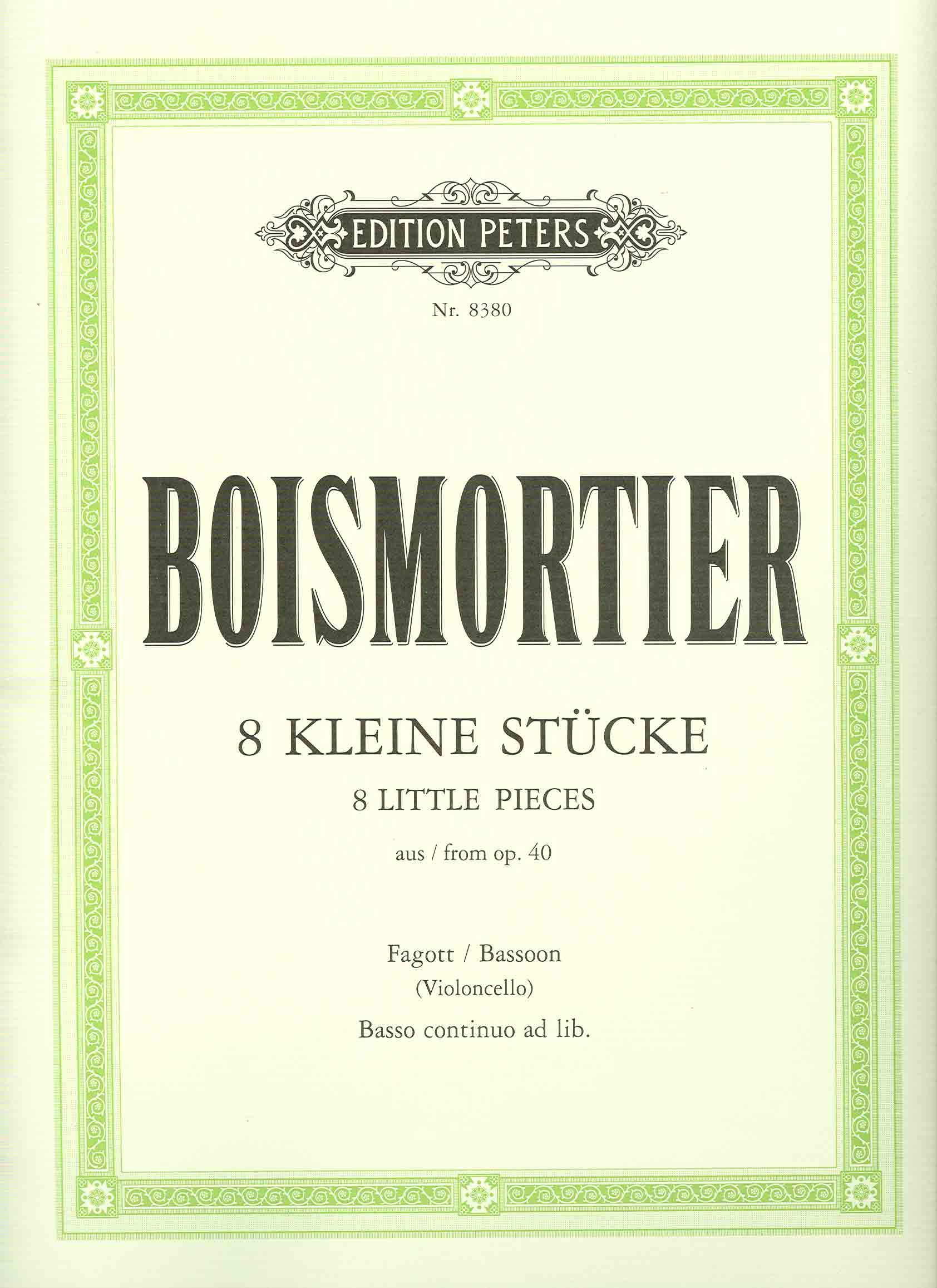 8 Kleine Stuecke  Op 40 . Violoncello Viola Da Gamba Fagott Klavier