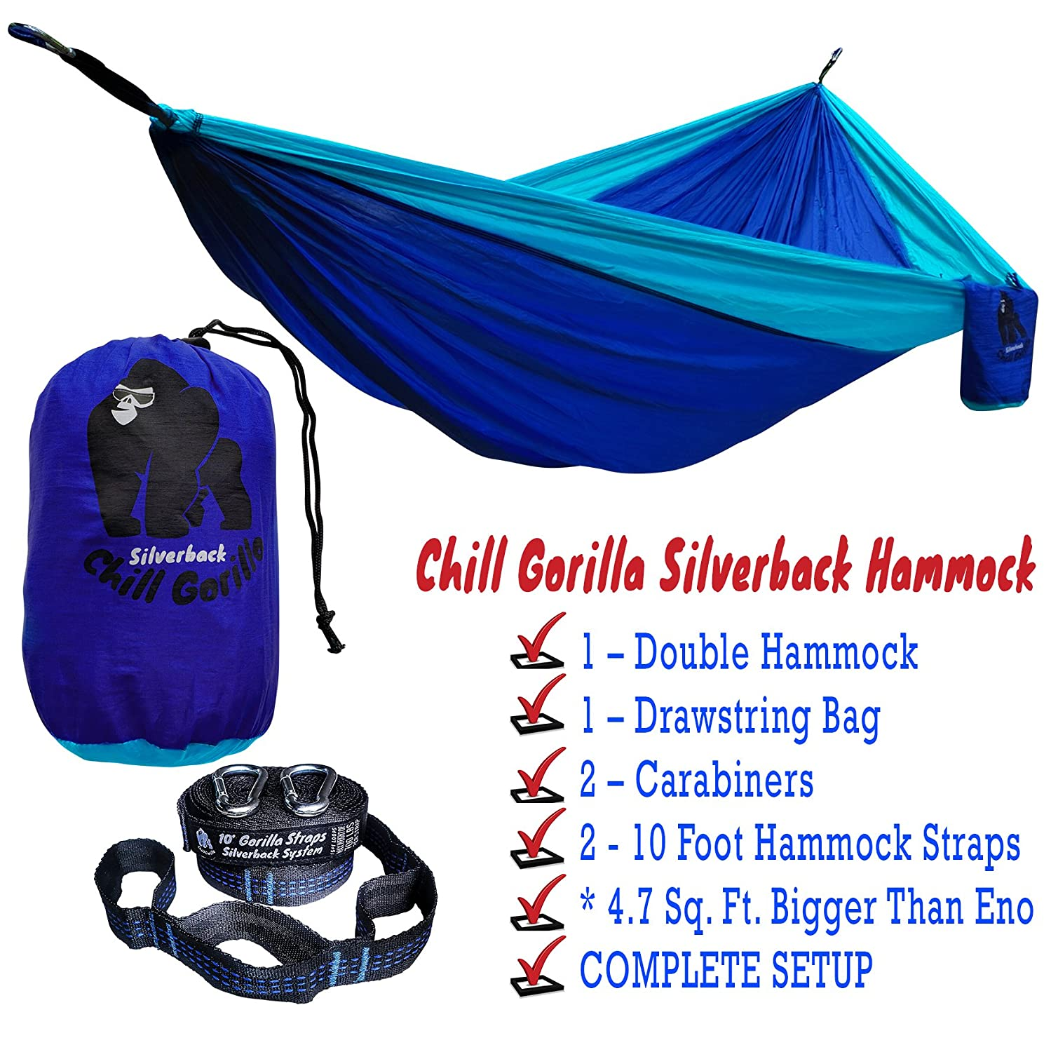 amazon    chill gorilla double hammock with tree straps  perfect for backpacking camping travel beach yard  portable parachute hammock  easy to setup  amazon    chill gorilla double hammock with tree straps  perfect      rh   amazon