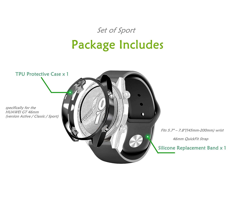sciuU Set de Carcasa Protectora y Correa para Huawei GT Active 46mm 1ra Generación, Funda Flexible Suave TPU Protectora + Silicona Banda para Huawei ...