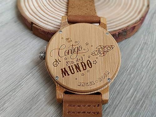 Reloj De Madera De Bambú Y Cuero Personalizado Con Grabación