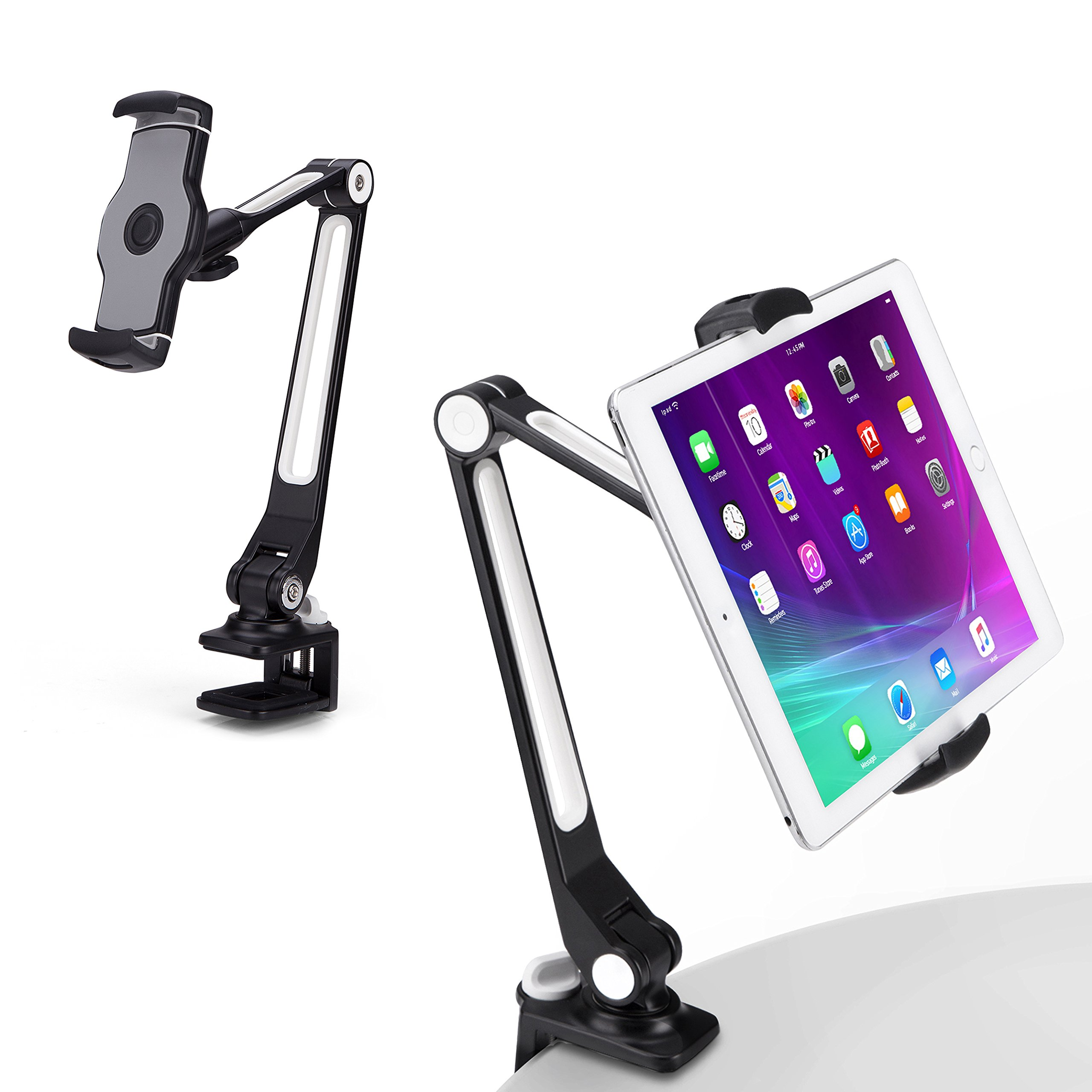 AboveTEK Sturdy iPad Holder, Aluminum Long Arm iPad Tablet Mount, 360° Swivel Tablet Stand & Phone Holder with Bracket Cradle Clamps 4-11'' Devices for Kitchen Bedside Office Desk Showcase Display