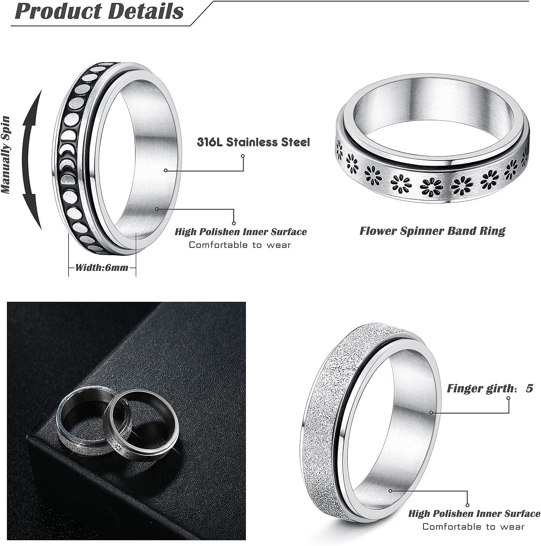 Subiceto 4 Pcs Spinner Rings for Women Stainless Steel Fidget Band Rings Set Moon Star Sand Blast Finish Womens Ring for Stress Relieving Wedding Promise