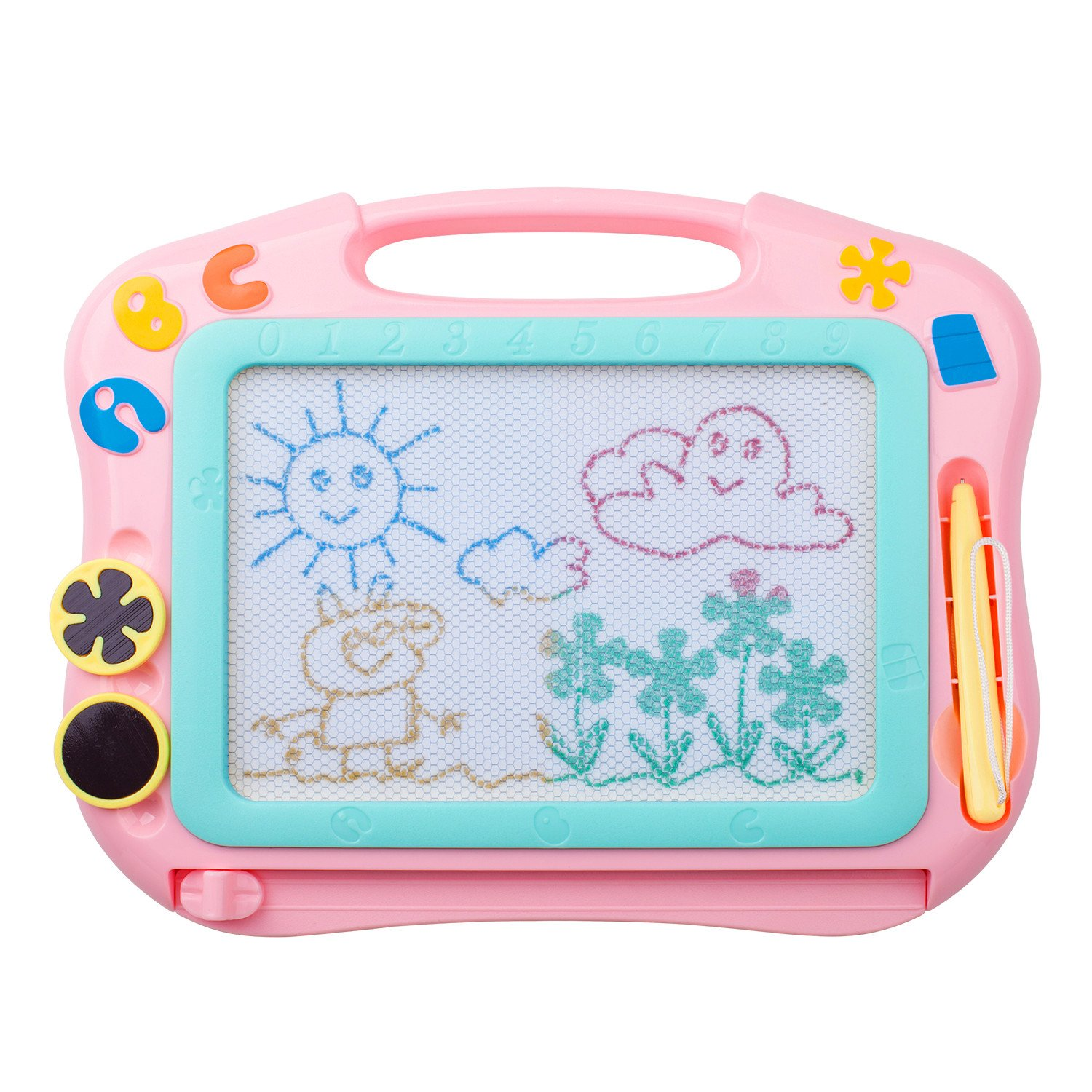 ikidsislands IKS85P [Travel Size] Color Magnetic Drawing Board for Kids & Toddlers - Non Toxic Mini Magna Sketch Doodle Educational Toy for Girls, with 1 Pen & 2 Stamps (Pink)