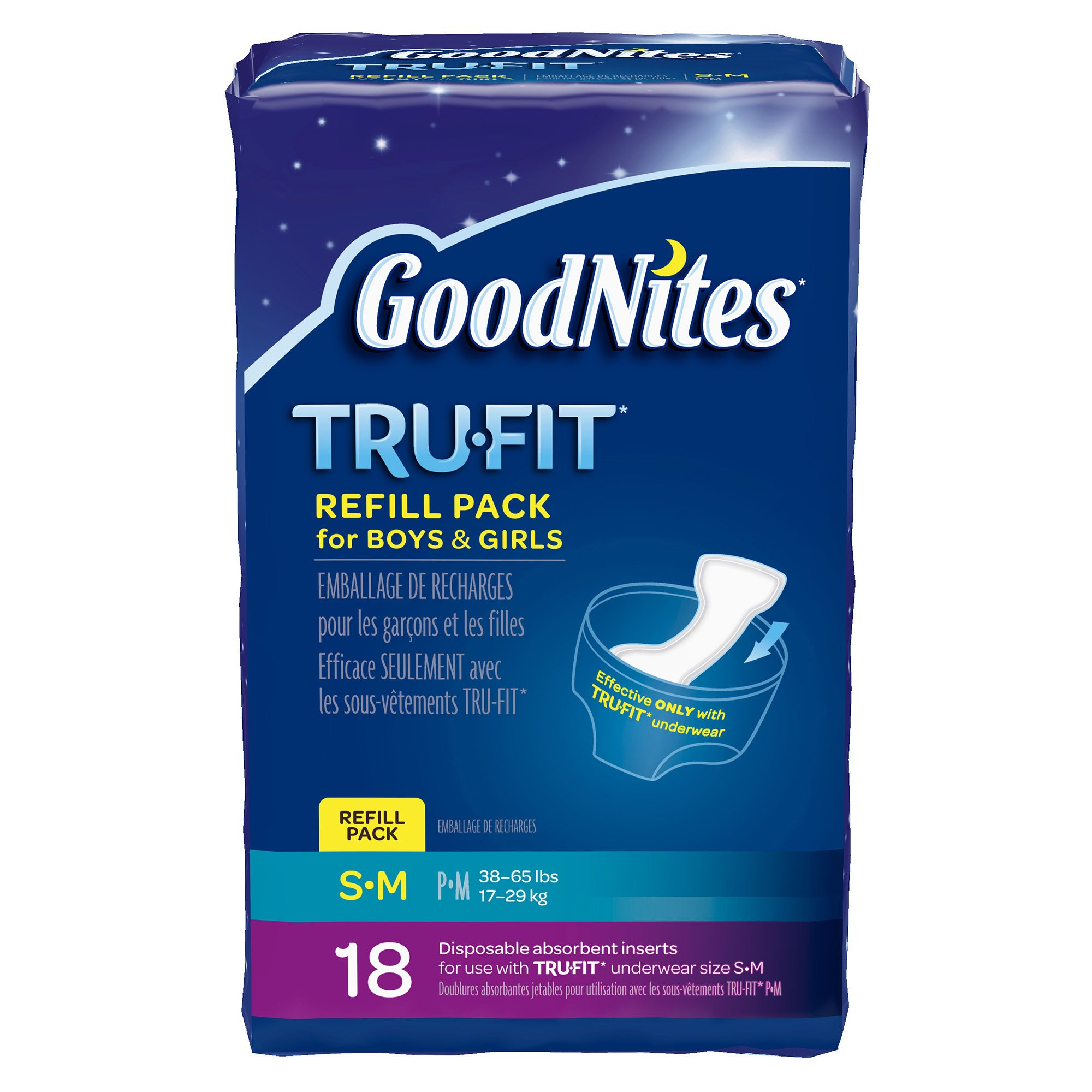 GoodNites TRU-FIT Disposable Absorbent Inserts for Boys & Girls, Refill  Pack, Size