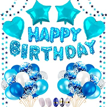 10 Blau Silber Konfetti Luftballons /& 4 Herz Stern Folienballon Ballonb/änder Sticker iZoeL Geburtstag Deko f/ür Junge Blaue Happy Birthday Girlande Folienballon 30 Latex Ballons Blau/&Hellblau/&Wei/ß