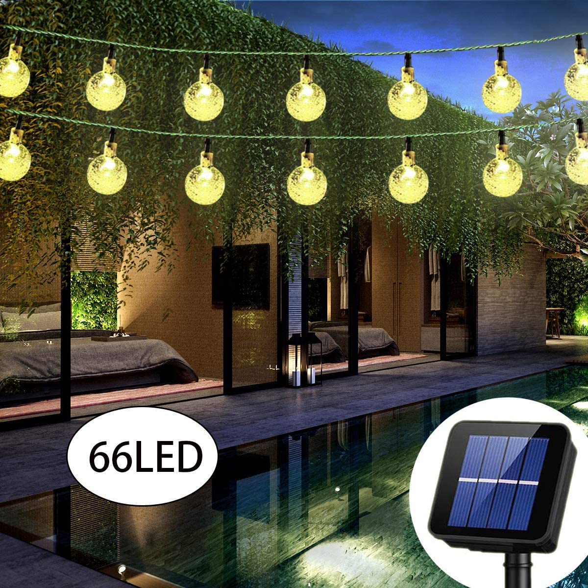 Irecey Solar String Lights Globe 38 Feet 66 Crystal Balls Waterproof LED Fairy Lights 8 Modes Outdoor Starry Lights Solar Powered Lights for Garden Yard Home Party Wedding Decoration (Warm White)