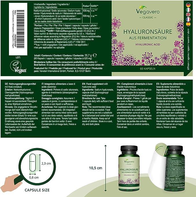 Ácido Hialurónico Vegavero® | La Dosis más Alta: 600 mg | 100% Libre de Aditivos & Vegano | 60 Cápsulas | 800-1500 kDa | Hidratante facial + ...