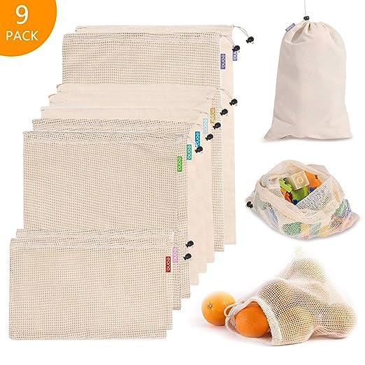 Eono by Amazon - Bolsas Compra Reutilizables Ecológicas, Bolsa Algodon de Malla, para Almacenamiento Fruta Verduras Juguetes Lavable y Transpirable, 9 ...