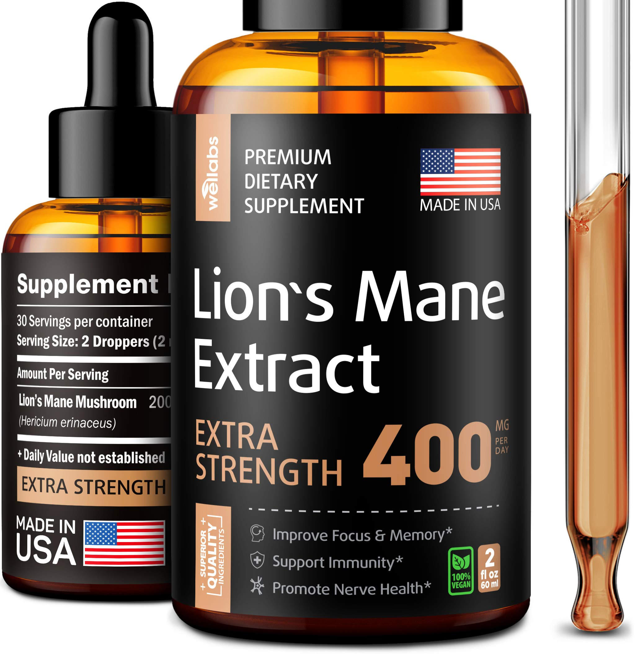 Lion's Mane Extract - Lion's Mane Mushroom Supplement for Immune Support - Lion's Mane Supplement - Made in USA - Lion's Mane Mushroom Complex for Mental Health - Liquid Mushroom Supplement