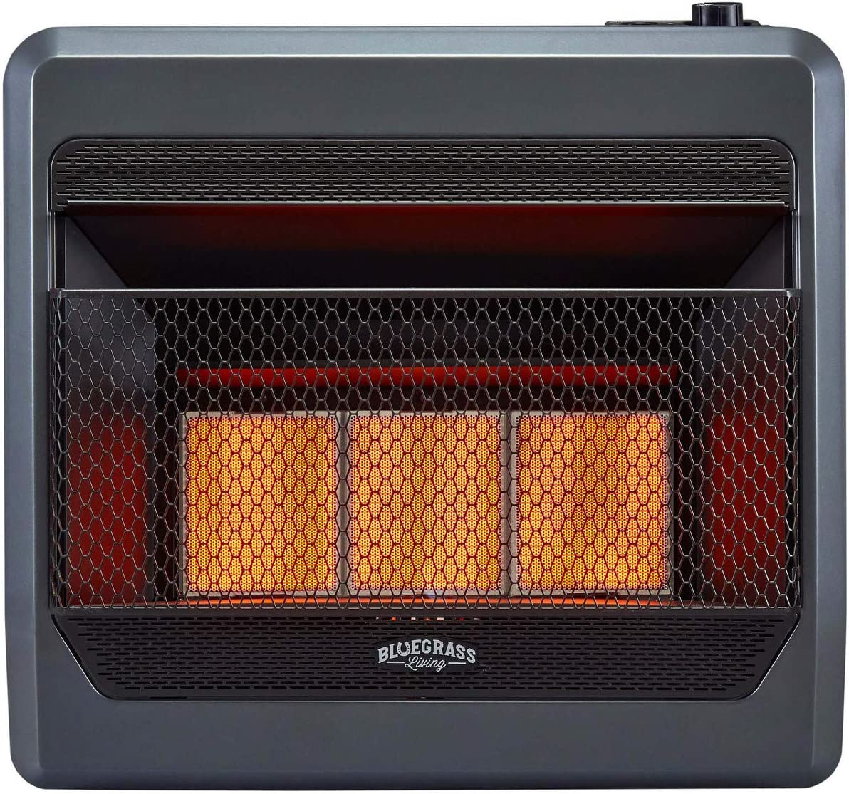Bluegrass Living B28TPIR-BB Propane Vent Free Infrared Gas Space Heater with Blower and Base Feet-28,000, T-Stat Control, 30,000 BTU, Black