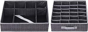 Elegant Home Fashions Drawer Organizer, Set of 2 Storage Box, Black/Grey