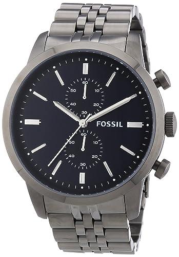 Fossil FS4786 - Reloj cronógrafo de cuarzo para hombre, correa de acero inoxidable color gris