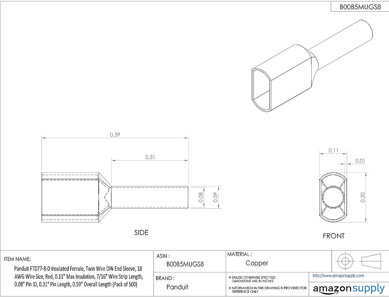 Panduit FTD77-8-D Insulated Ferrule, Twin Wire DIN End Sleeve, 18 ...