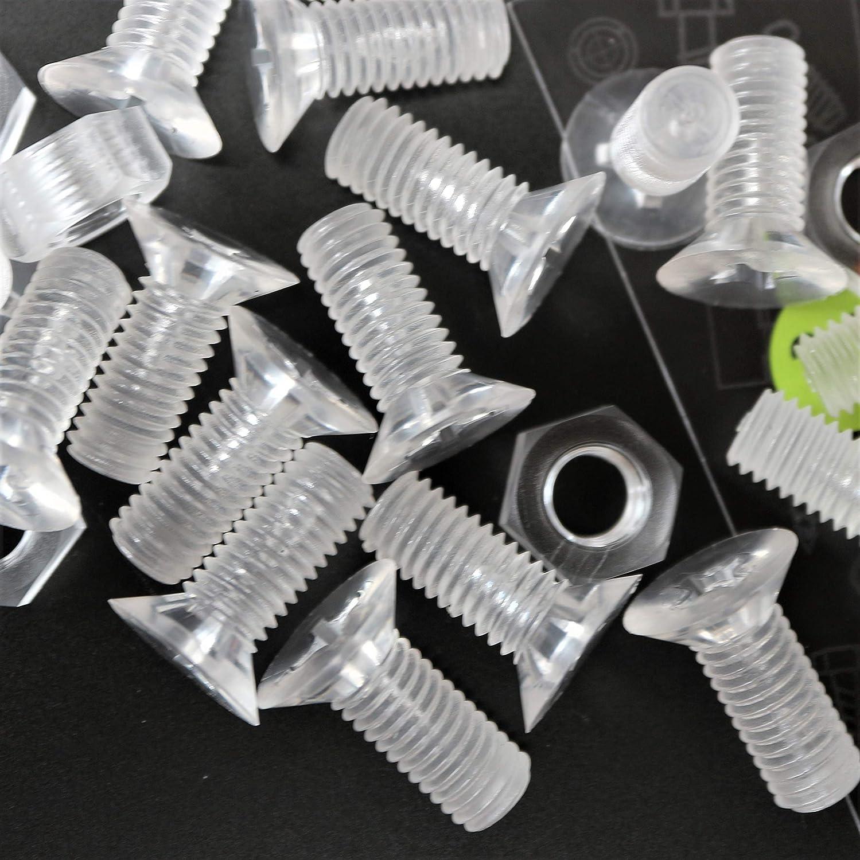 25 x tuercas y tornillos avellanados con agujero transversal, plástico acrílico transparente, M8 x 20mm - Tornillos de plástico acrílico, transparente tornillos de cabeza plana, acrílico tornillos
