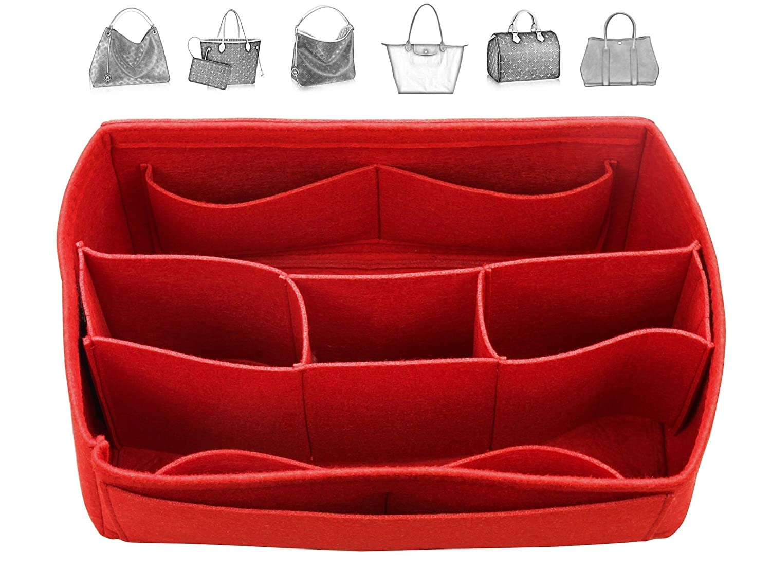 Felt Organizer (with Detachable Middle Compartments), Bag in Bag, Wool Purse Insert, Customized Tote Organize, Cosmetic Makeup Diaper Handbag
