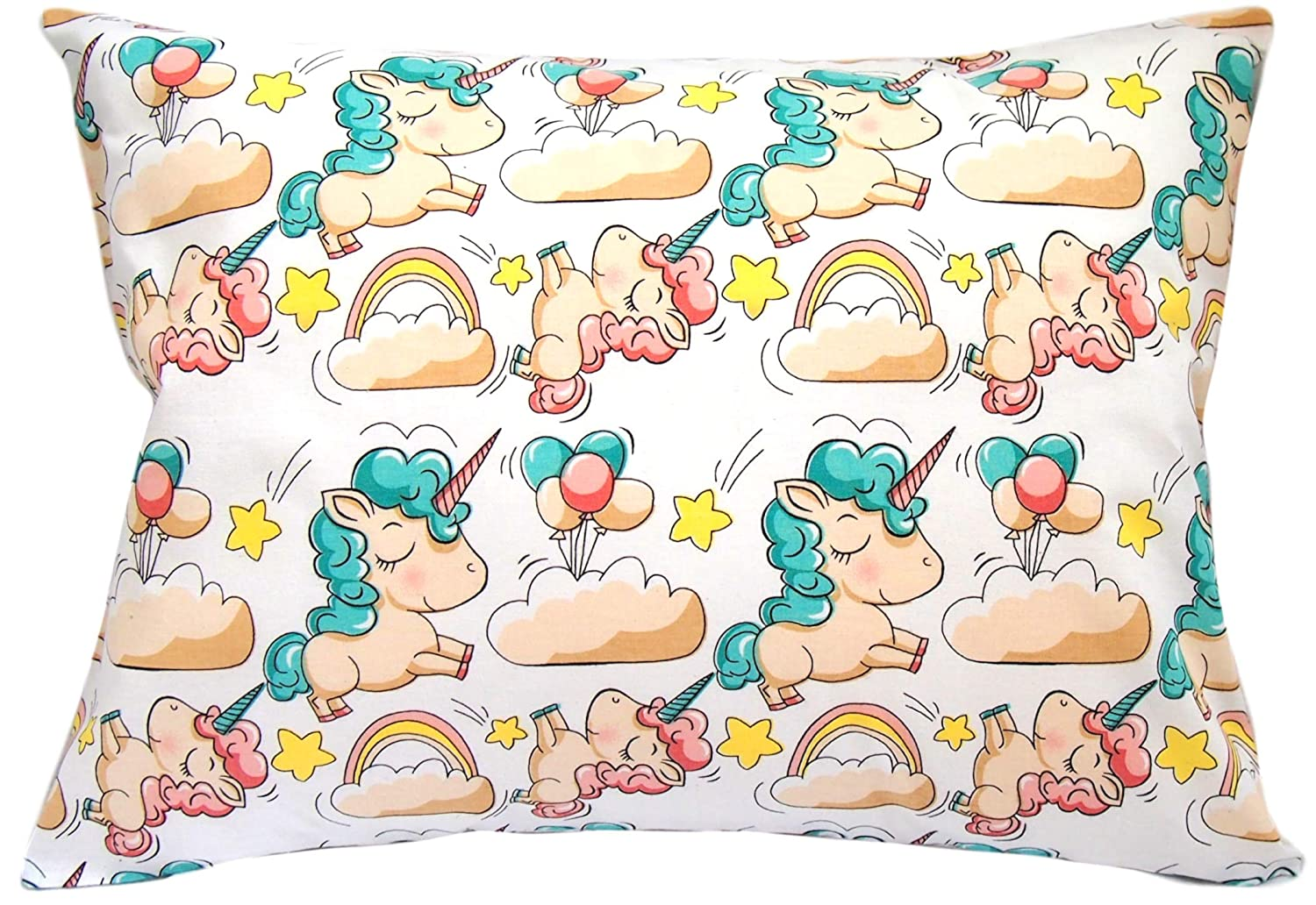 Soft Pillow Cover for Wonderful Sleep and Dreams Kids Toddler Pillowcase 13x18 by Comfy Turtles Pink Castle 100/% Cotton Design for Boys and Girls