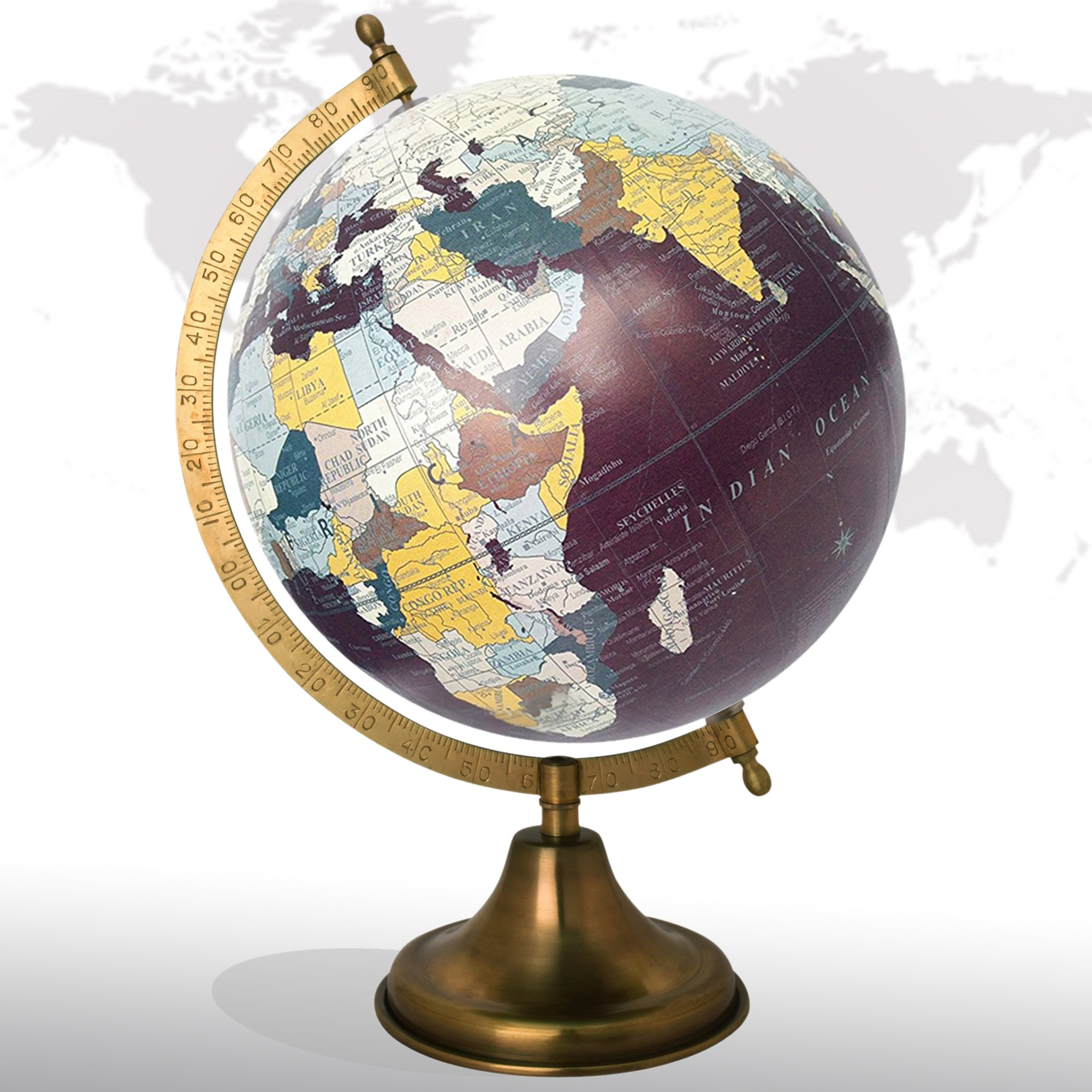Desktop Rotating Globe Georgraphy World Map Maroon 8'' Inches Metal Base Educational Globe Office Table Topper