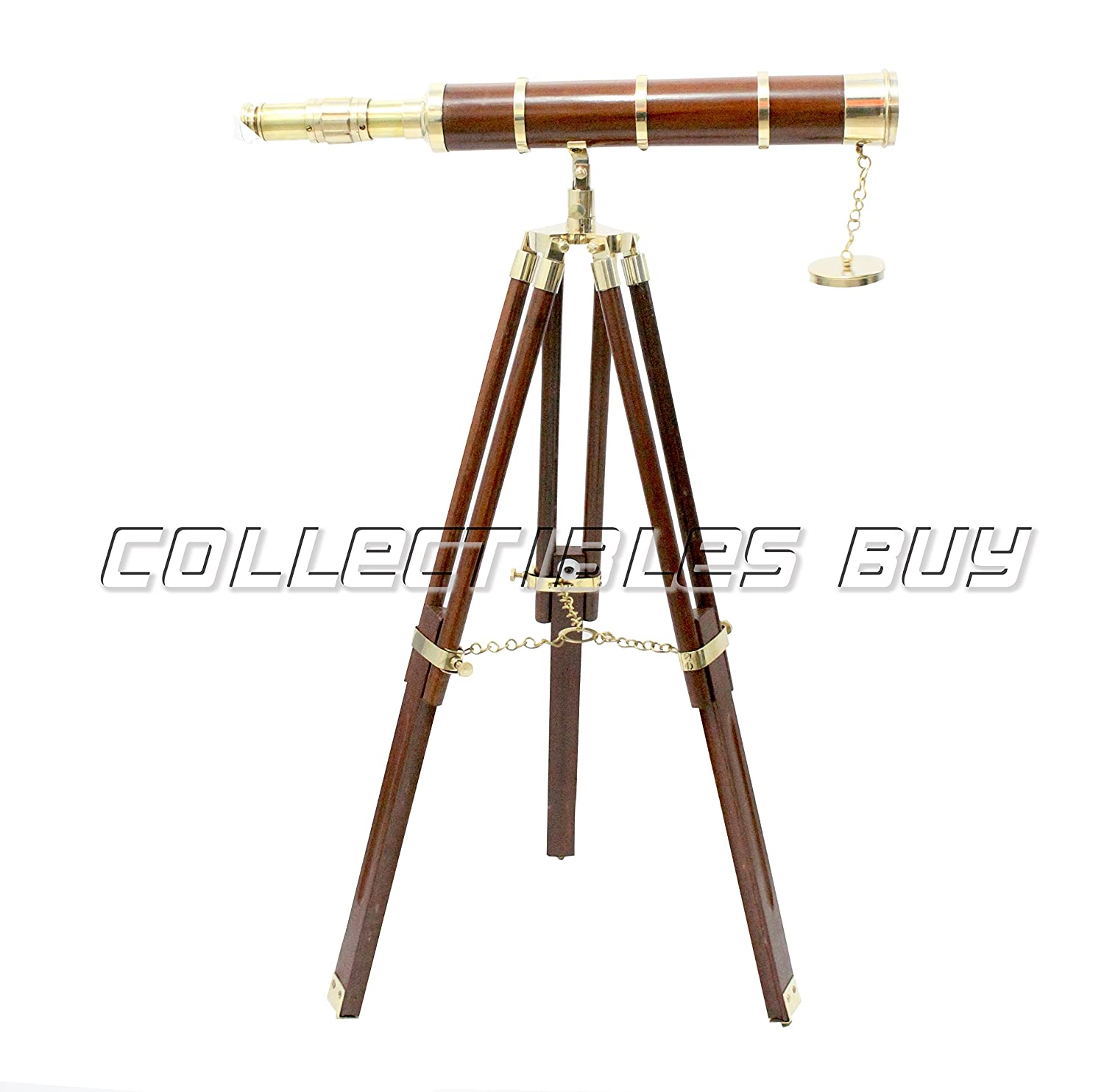 Vintage marine Nautical maritime Navy Brass Telescope Brown Wooden Tripod Collectibles Buy ZTS535