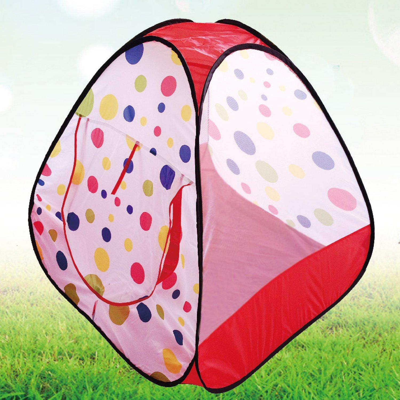 POCO DIVO Polka Dot Ball Pit Twist Pool Popup Hexagon Mesh Play Tent with 100 Playball