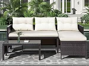 LSOIFAHE 3 PCS Outdoor Rattan Furniture Sofa Set with Cushions