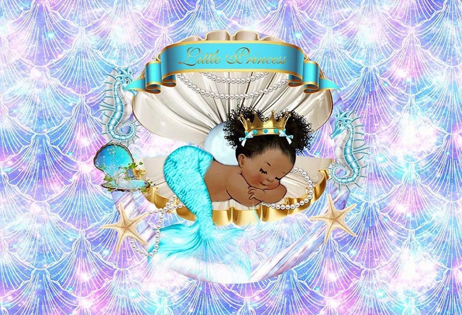 女の子の赤ちゃんのプリンセス用背景幕 誕生日パーティー ロマンチックなマーメイドシェルスケール ベビーシャワー 背景 写真スタジオ小道具 7x5フィート   B07GR73V79