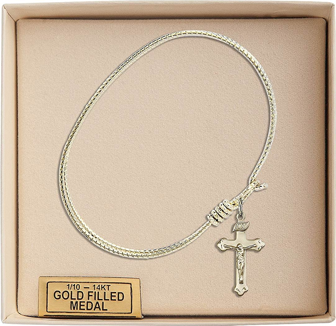 Crucifix Charm On A 7 1//4 Inch Oval Eye Hook Bangle Bracelet