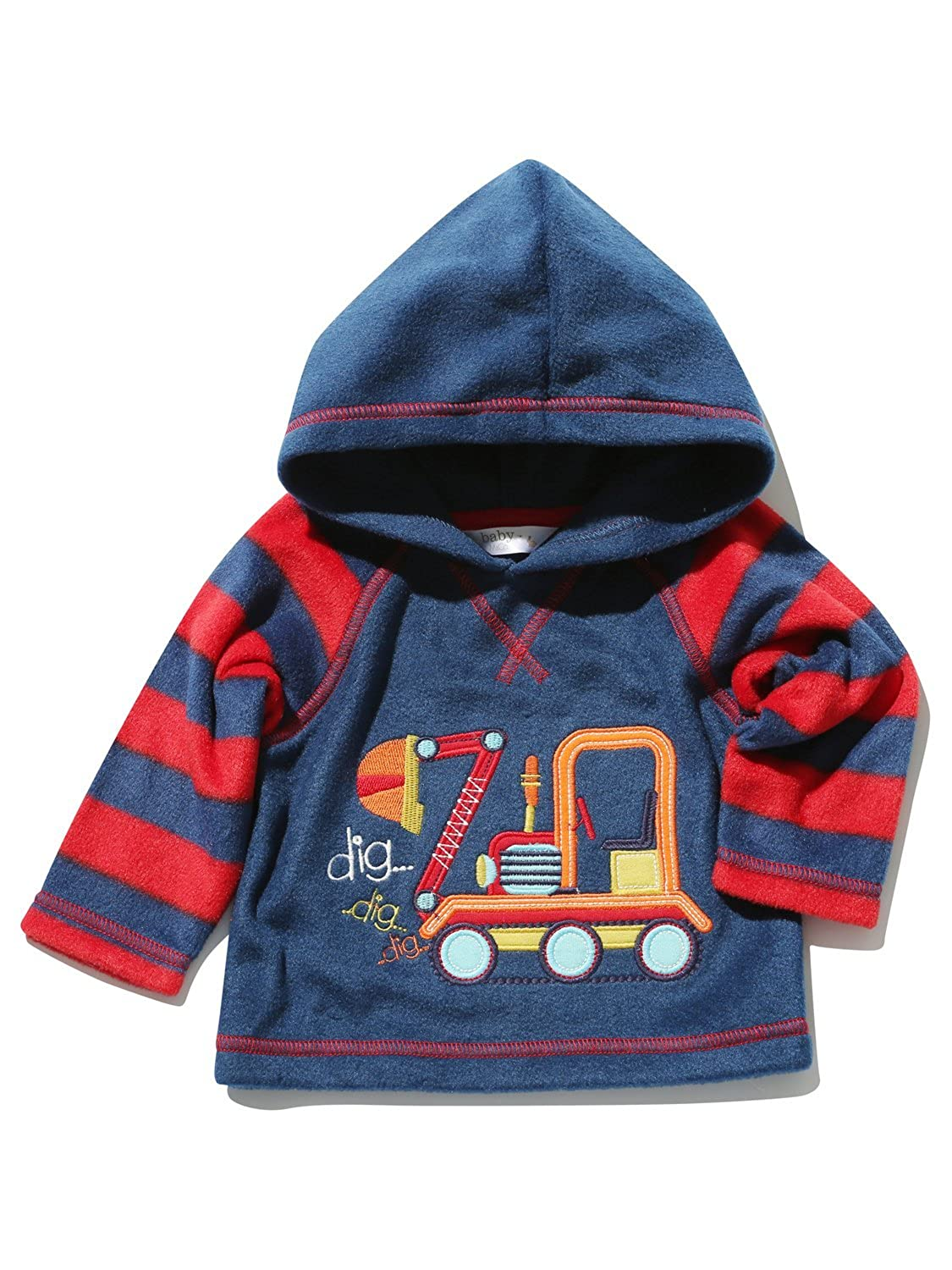M& Co Baby Boy Navy Red Stripe Long Sleeve Digger Applique Hooded Pull On Fleece Top