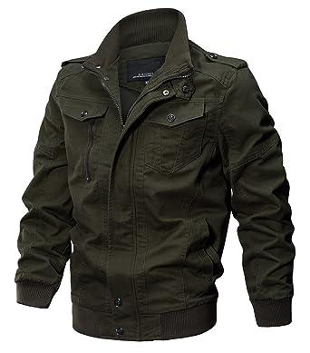 3639583b9f7 WULFUL Men s Cotton Military Jackets Casual Outdoor Coat Windbreaker Jacket  Amy Green S