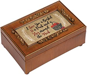Cottage Garden I Love You Bushel and a Peck Woodgrain Embossed Jewelry Music Box Plays You are My Sunshine