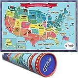 Amazoncom Wall Pops WPE0623 Kids USA Dry Erase Map Decal Wall