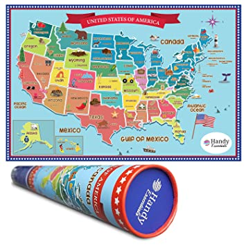 Amazoncom Handy Essentials Kids USA Map Dry Erase Decal Wall - Us map dry erase