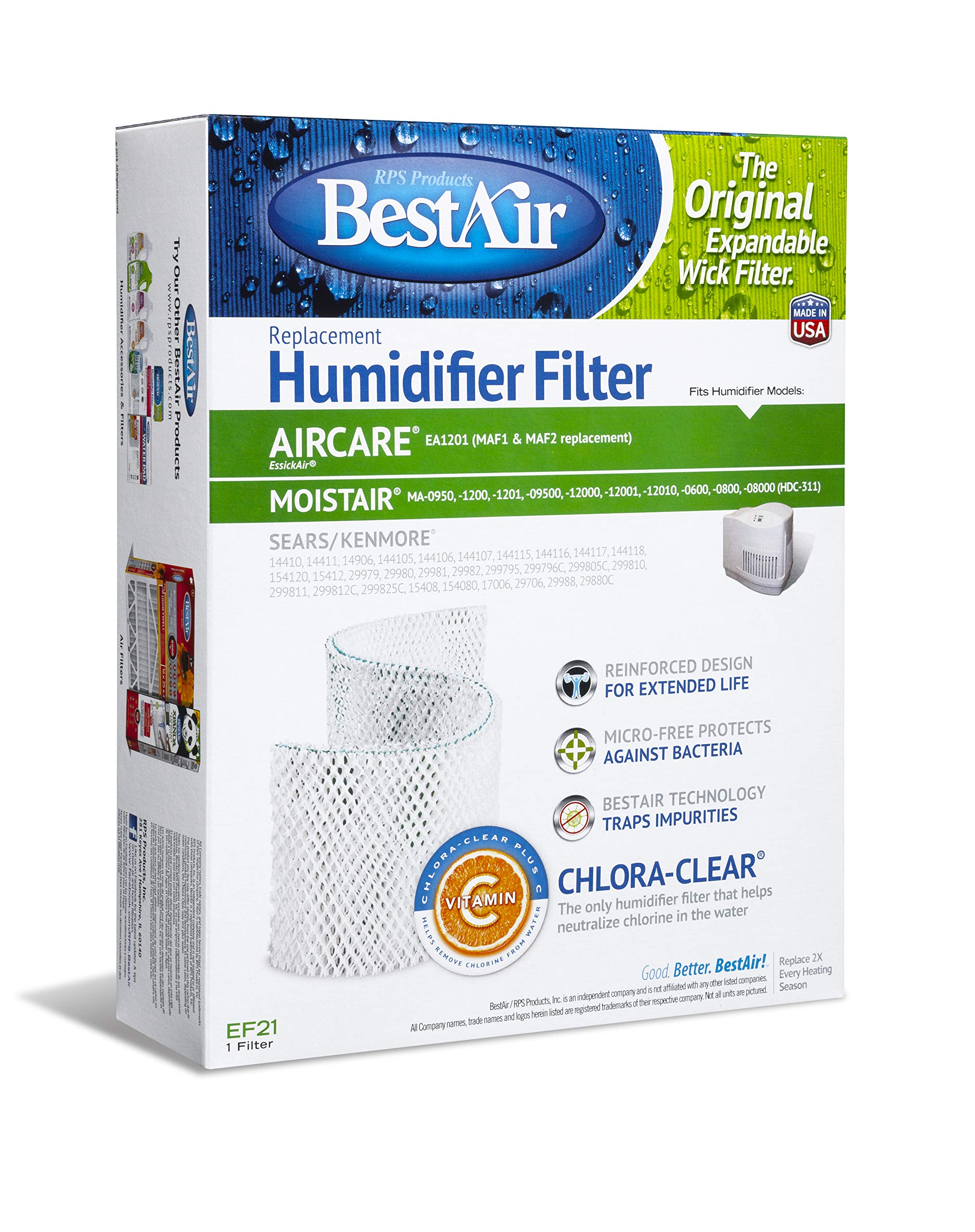 BestAir EF21-PDQ-3 Extended Life Humidifier Replacement Paper Wick Humidifier Filter, For Emerson, Sears & Kenmore Models, 10.7'' x 8.3'' x 3.2'', 3 Pack by BestAir