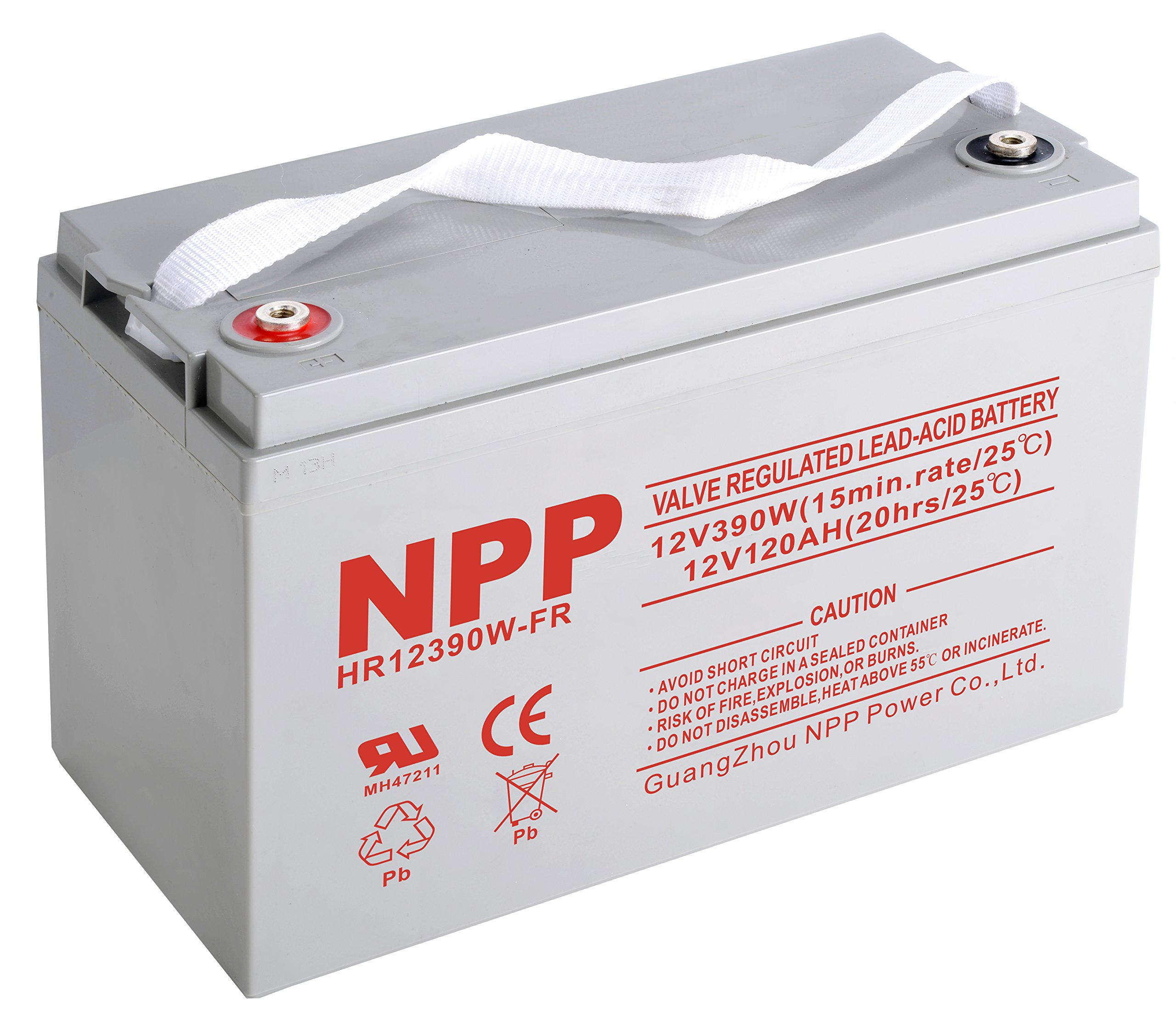 NPPower HR12390W 12V 390W, Flame Retardant 12V 120Ah,12Volt 120amp Sealed Lead Acid Rechargeable Battery with Button Style Terminals by NPP