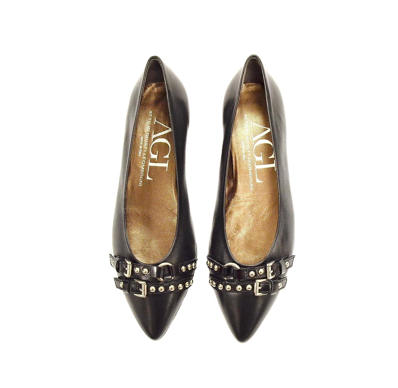 ATTILIO GIUSTI Womens LEOMBRUNI Leather Stud & Buckle Flat Shoes Black 260929E B01N350QKD 5 B(M) US