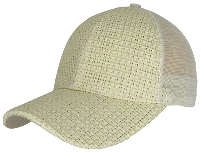 Generic Men Women New Wicker Straw Woven Baseball Cap Curved Visor Summer  Hat Snapback (Beige e7cfa5106173