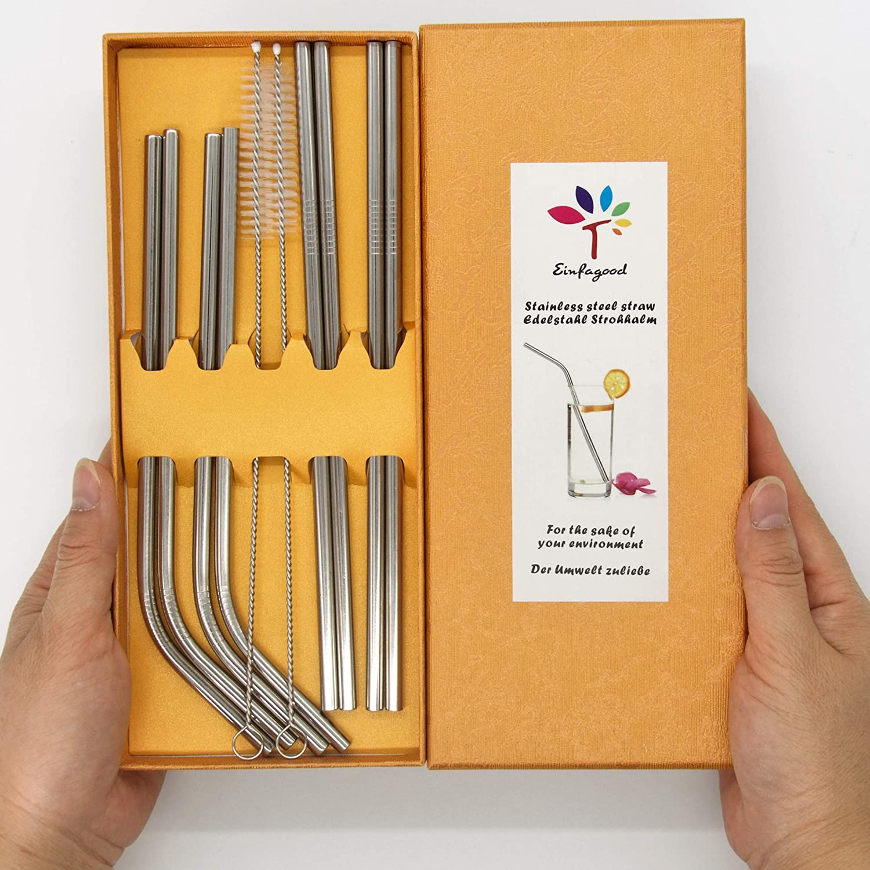 EINFAGOOD Reusable Straws Stainless Steel, Metal Straws for Drinks, Yeti Straws for 20 oz Tumbler, Smoothie Straws Eco Friendly, 8 Pack(1, Large gift box)