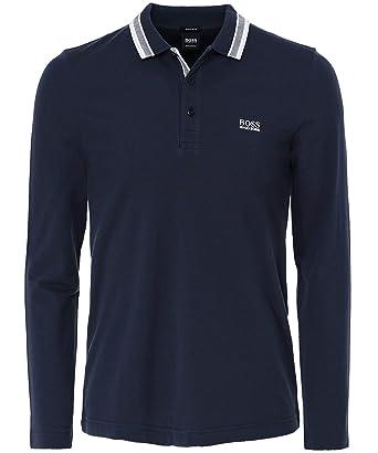 f53db6eb1 Amazon.com: BOSS Green Men's Regular Fit Long Sleeve Plisy Polo Shirt Navy:  Clothing