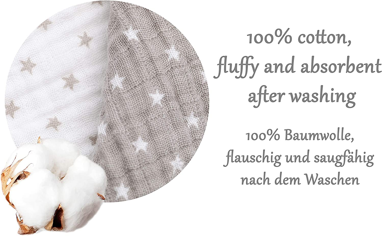 extra grandes 120x120 cm Zollner 2 mantas de muselinas de algod/ón para beb/é