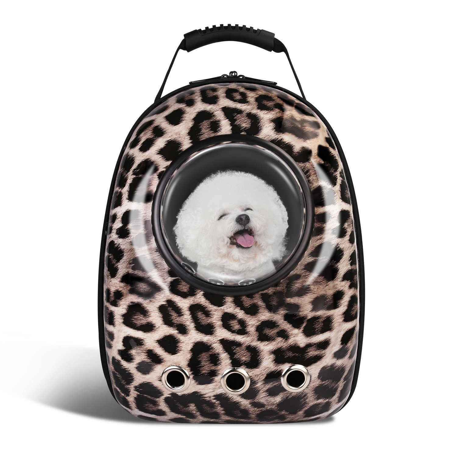 Anzone Pet Portable Carrier Space Capsule Backpack, Pet Bubble Traveler Knapsack Multiple Air Vents Waterproof Lightweight Handbag for Cats Small Dogs & Petite Animals-Leopard Print,30L
