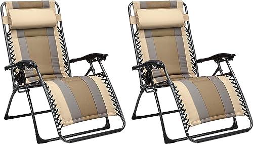 Padded Zero Gravity Chair- Black, 2 Pack
