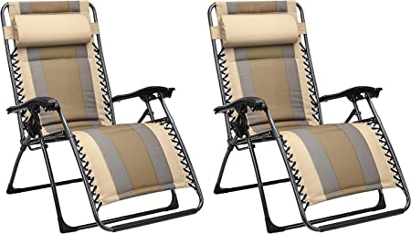AmazonBasics Outdoor Padded Zero Gravity Lounge Beach Chair Pack of 2, 65 x 29.5 x 44.1 Inches, Tan