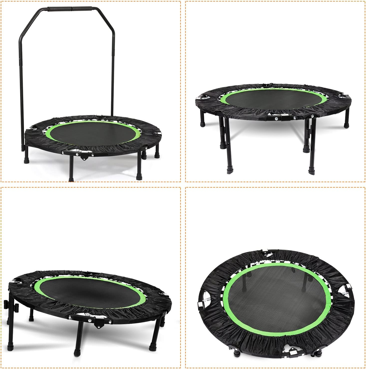 Plohee Portable Foldable Fitness Workout Mini Rebounder Trampoline 40 Inch Max Load 300lbs with Adjustable Handrail for Indoor Garden Workout Cardio Exercise