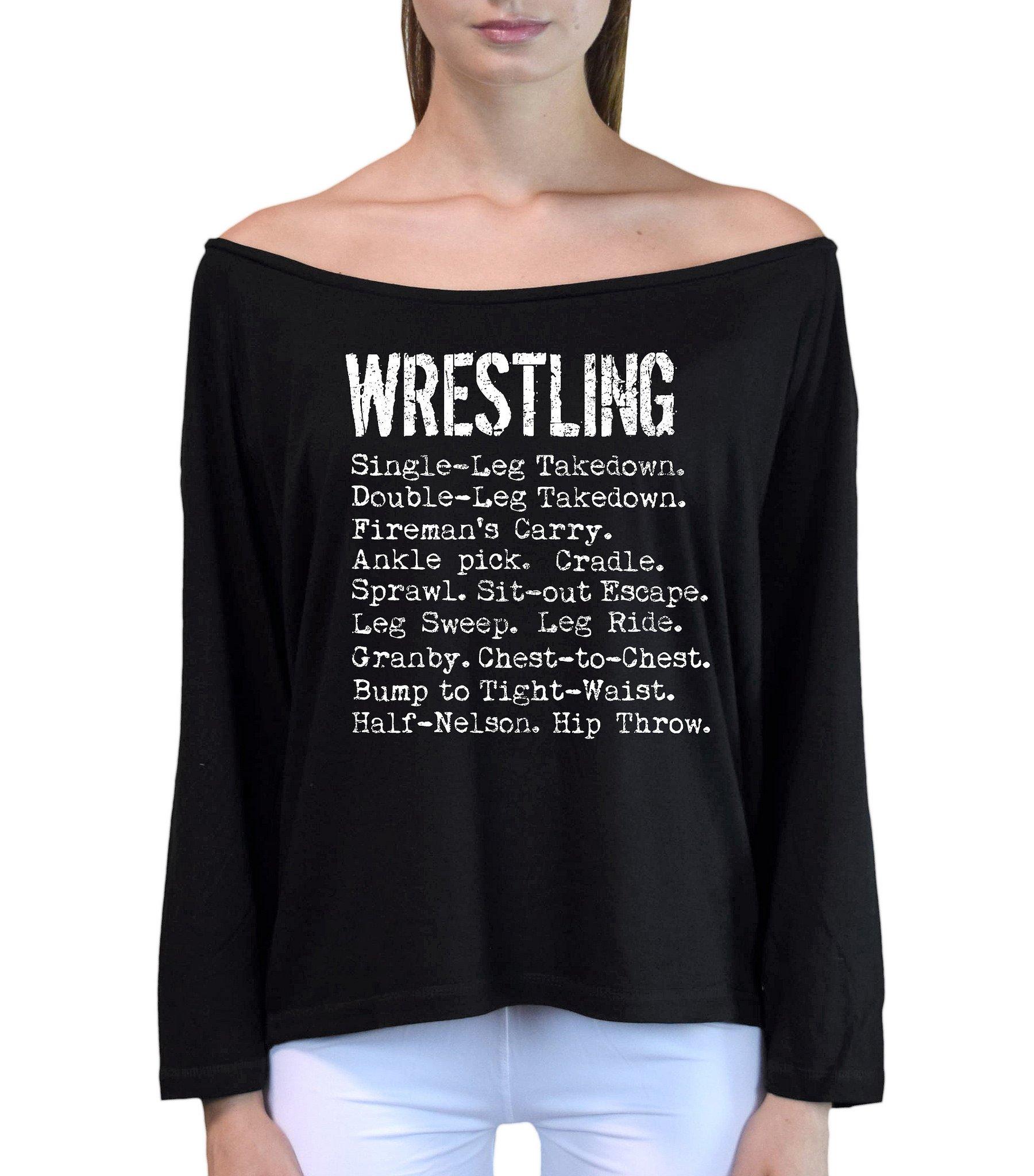 Interstate Apparel Inc Junior's Wrestling Moves Black Off-Shoulder Long Sleeve T-Shirt S/M Black