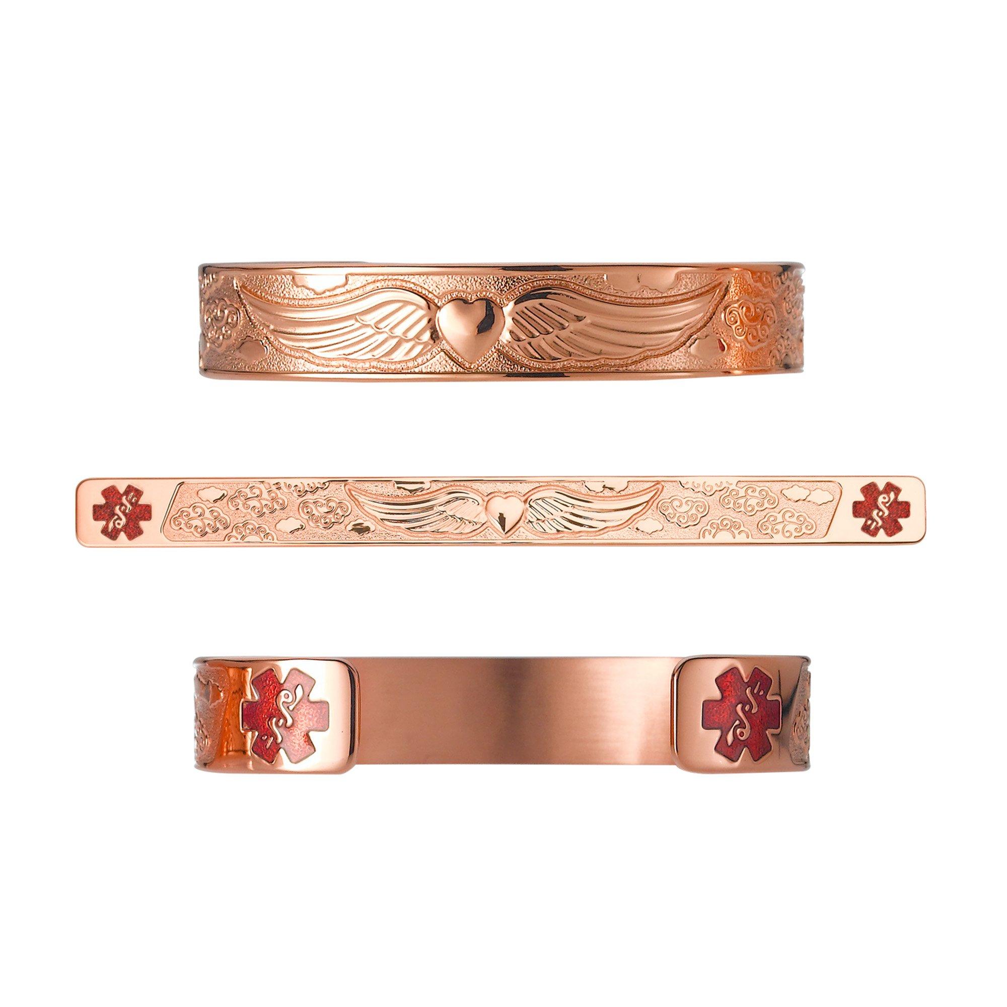 Divoti Deep Custom Laser Engraved Angel Wing PVD Rose Gold 316L Medical Alert Bracelet - 6'' Cuff (fits 6.5-8.0'')-TP Red